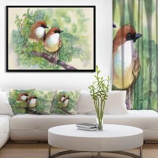 Designart 'Birds of Spring' Modern Animal Painting Framed Canvas Print