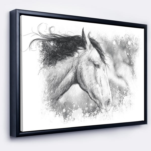 Shop Designart \'Horse Tattoo Art\' Animal Framed Canvas Art Print ...