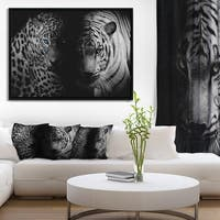 Designart 'Leopard and Tiger in Black' Animal Framed Canvas Art Print