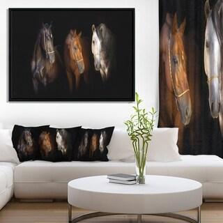 Designart 'Three Horses with Golden Bridle' Animal Framed Canvas Art Print