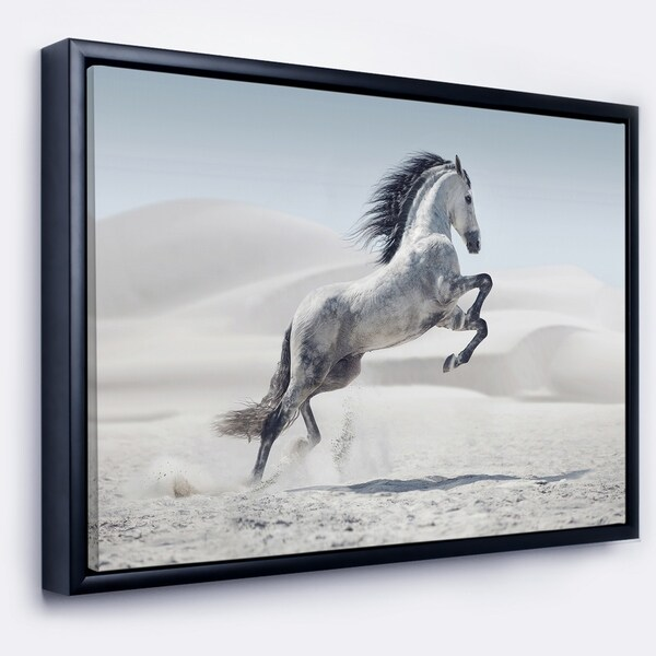 Shop Designart \'Galloping White Horse\' Animal Framed Canvas Wall Art ...