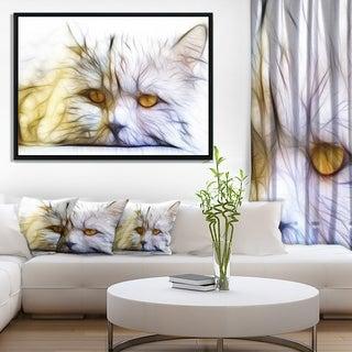 Designart 'Cute White Cat Fractal Illustration' Animal Framed Canvas Art Print