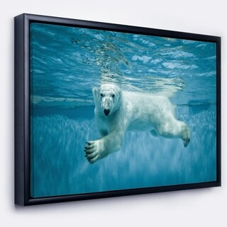 Designart 'Polar Bear Swimming under Water' Large Animal Framed Canvas Artwork