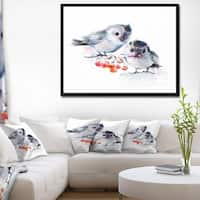 Designart 'Birds on Branch With Red Berries' Animal Framed Canvas Art Print