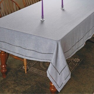 Violet Linen Hem Stitch Embroidered Design Tablecloth - Assorted Colors