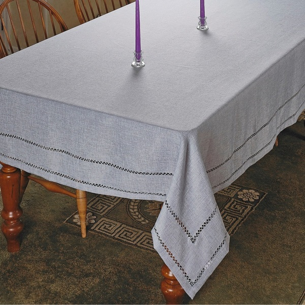 Violet Linen Hem Stitch Embroidered Design Tablecloth   Assorted Colors