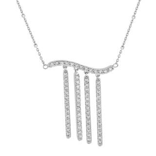 14k White Gold 1ct TDW Diamond Bar Fringe Necklace