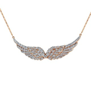 14k Rose Gold 1 1/5ct TDW Diamond Angel Wing Necklace - White