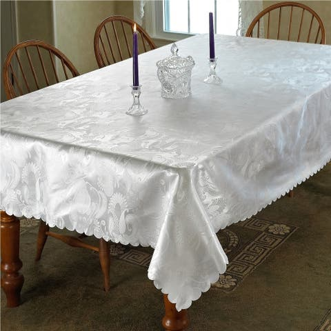 Violet Linen European Rose Design Tablecloth - Assorted Colors