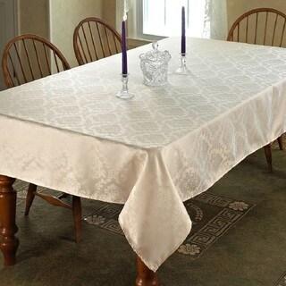 Violet Linen European Damask Design Tablecloth - White or Ivory