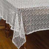 Violet Linen Luxurious Crochet Classic Vintage Tablecloth