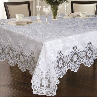 Violet Linen Deluxe Cut Velvet Tablecloth - White and Taupe