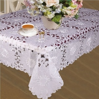 Violet Linen Cabarnet Embroidered Tablecloth
