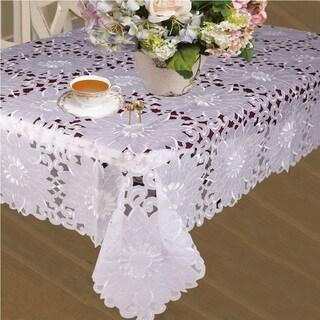 Violet Linen Cabarnet Embroidered Tablecloth