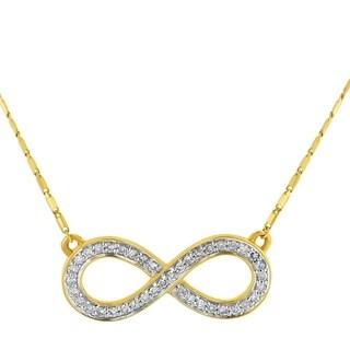 14k Yellow Gold 1/5ct TDW Diamond Infinity Loop Necklace - White