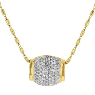 14k Yellow Gold 3/4ct TDW Pave Diamond Barrel Necklace - White