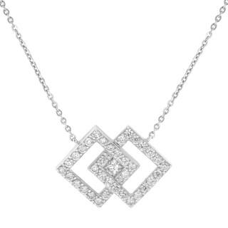14k White Gold 3/4ct TDW Interlocked Diamond Square Necklace