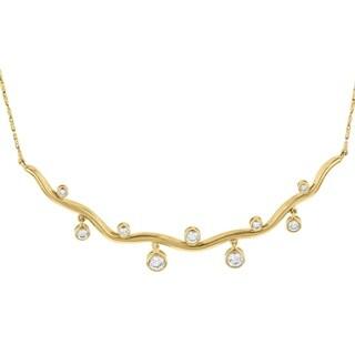 14k Yellow Gold 3/4ct TDW Diamond Wavy Bar Necklace - White
