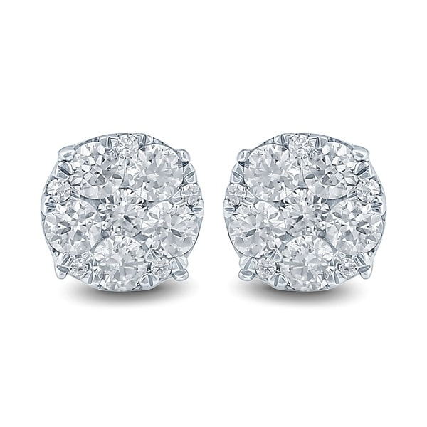 1f67d05ac Shop 1 Carat TW Diamond Cluster Earrings in 10K White Gold - On Sale - Free  Shipping Today - Overstock - 18945813