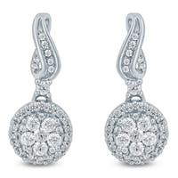 1/3 Carat TW Diamond Drop Earrings in 10K White  Gold