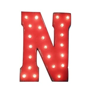 "21"" Letter N Plug-In Rustic Metal Marquee Light Up Sign Color"