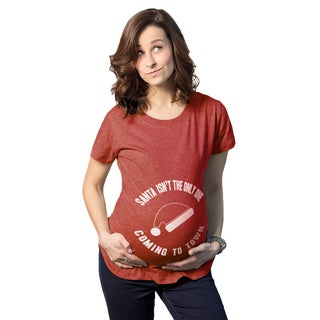 """Maternity """"Santa Isnt the Only One Coming To Town"""" Pregnancy Announcement T-shirt"""