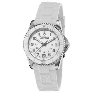 Swiss Army Women's V251492 'Maverick' White Dial White Rubber Strap Swiss Quartz Watch