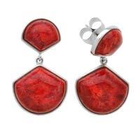 Pangea Mines Coral Fan Drop Earring - Red