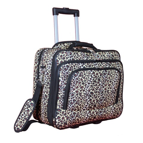 World Traveler Leopard Rolling 17-inch Laptop Business Case