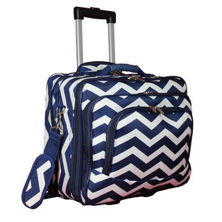 World Traveler Navy White Chevron Rolling 17-inch Laptop Business Case