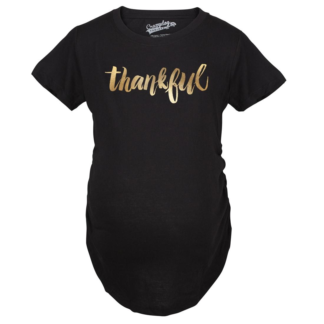 Crazy Dog Maternity Thankful Script Gold Shimmer Pregnanc...