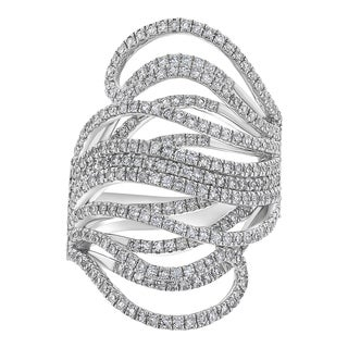 14k White Gold 1 1/2ct Open Multiple Diamond Wave Ring