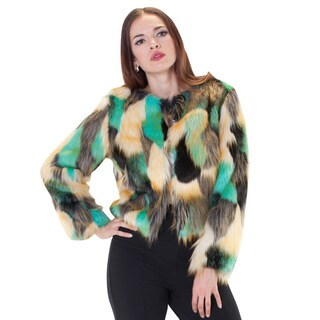 Multi Color Faux Fur Bomber Jacket