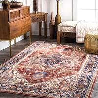 nuLoom Traditional Persian Medallion Rust Rug (5' x 8') - 5' x 8'