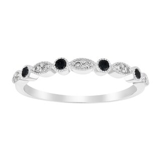 10K White Gold 0.18 carat TDW Black and White Diamond Vintage Inspired Band Ring - White H-I (3 options available)