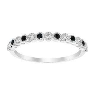 10K White Gold 1/4 carat TDW Black and White Diamond Vintage Inspired Band Ring - White H-I (3 options available)