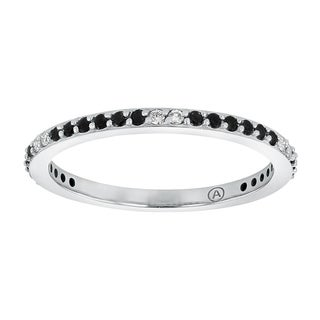 10K White Gold 1/4 carat TDW Black and White Diamond Stackable Semi Eternity Band Ring - White H-I (3 options available)