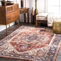 nuLOOM Traditional Persian Medallion Rust Rug