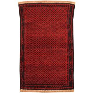 Handmade Herat Oriental Afghan Hand-knotted Tribal Balouchi Wool Rug (2'11 x 4'9)