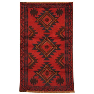 Handmade Herat Oriental Afghan Hand-knotted Tribal Balouchi Wool Rug (Afghanistan) - 2'9 x 4'6