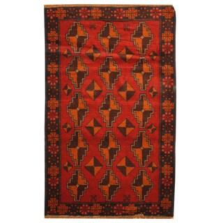 Handmade Herat Oriental Afghan Hand-knotted Tribal Balouchi Wool Rug (3' x 4'10) - 3' x 4'10