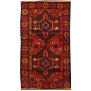Handmade Herat Oriental Afghan Hand-knotted Tribal Balouchi Wool Rug (2'7 x 4'7)