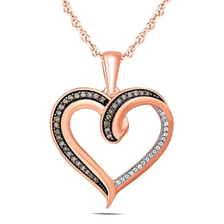 1 4 Carat TW Brown And White Diamond Heart Pendnat In 10K Rose Gold