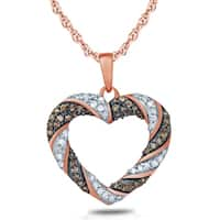 1 1/10 Carat TW Brown And White Diamond Heart Pendnat in 10K Rose Gold