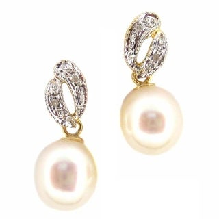 Kabella 14k Yellow Gold 6mm Freshwater Pearl & Diamond Dangle Earring - White