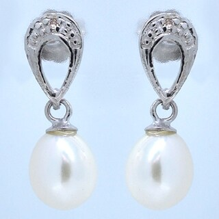Kabella 14k Gold White Freshwater Pearl & Diamond Earrings