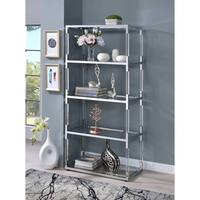 ACME Raegan Shelf in Chrome, Acrylic and Clear Glass