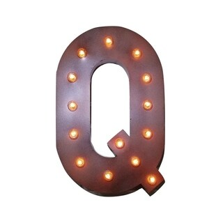 "21"" Letter Q Plug-In Rustic Metal Marquee Light Up Sign Color"