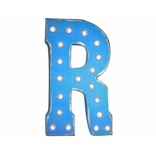 "21"" Letter R Plug-In Rustic Metal Marquee Light Up Sign Color"