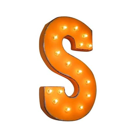"21"" Letter S Plug-In Rustic Metal Marquee Light Up Sign Color"